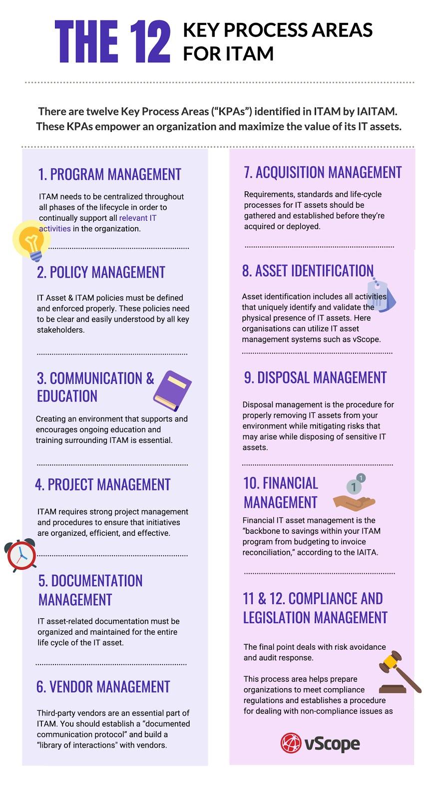12 key process areas of ITAM